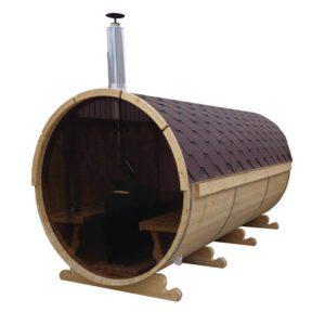 Fasssauna 230 Zylinder Holzofen