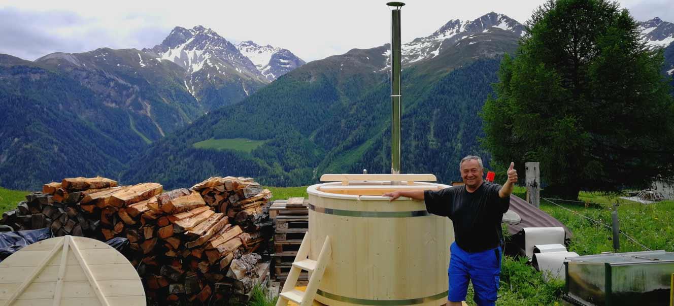 Ein toller Hotpot / Badefass / Badetonne in der schönen Schweiz