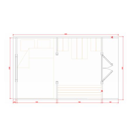 Grundriss Glamping POD 2.4x4.0 Raumaufteilung