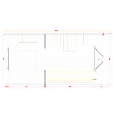 Grundriss Glamping POD 2.4x4.8 Raumaufteilung